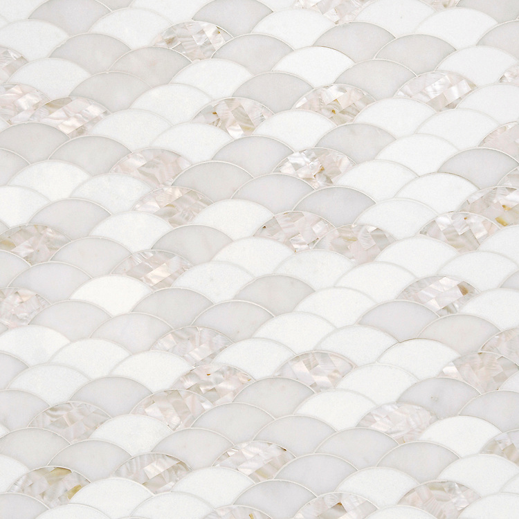 Abalone, a stone waterjet cut mosaic, shown in polished Shell, Thassos, and Afyon White, is part of the Aurora™ Collection by New Ravenna.
