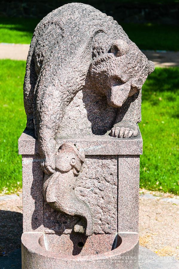 Finland, Helsinki. Bear statue in the Kalvopuisto Well Park.