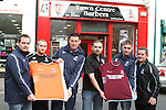 Manager JP O'Boyle, Kevin Hoey, Richard Dooley, Ronan Mooney from Town Centre Barbers, Graham Reynolds and Chairman Keith Wallace of New Football Team, Drogheda Crescent at Town Centre Barbers.  Missing from photo Club Captain Keith Collins...Picture Jenny Matthews/Newsfile.ie