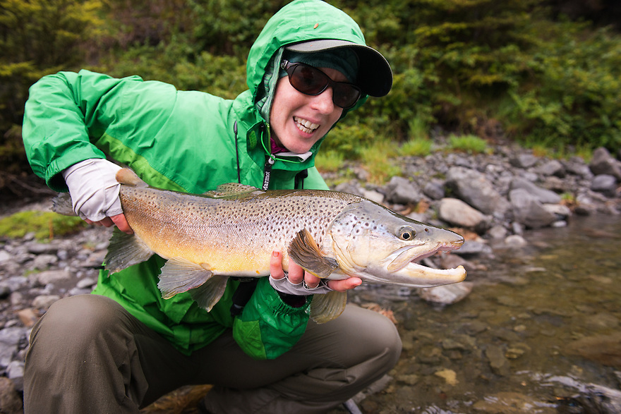 This brown trout took a fly in the high country of New Zealand's South Island.
