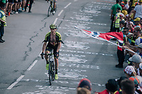 "Michael Hepburn (AUS/Mitchelton Scott) coming through ""Dutch Corner"" (#7) on Alpe d'Huez<br /> <br /> Stage 12: Bourg-Saint-Maurice / Les Arcs > Alpe d'Huez (175km)<br /> <br /> 105th Tour de France 2018<br /> ©kramon"