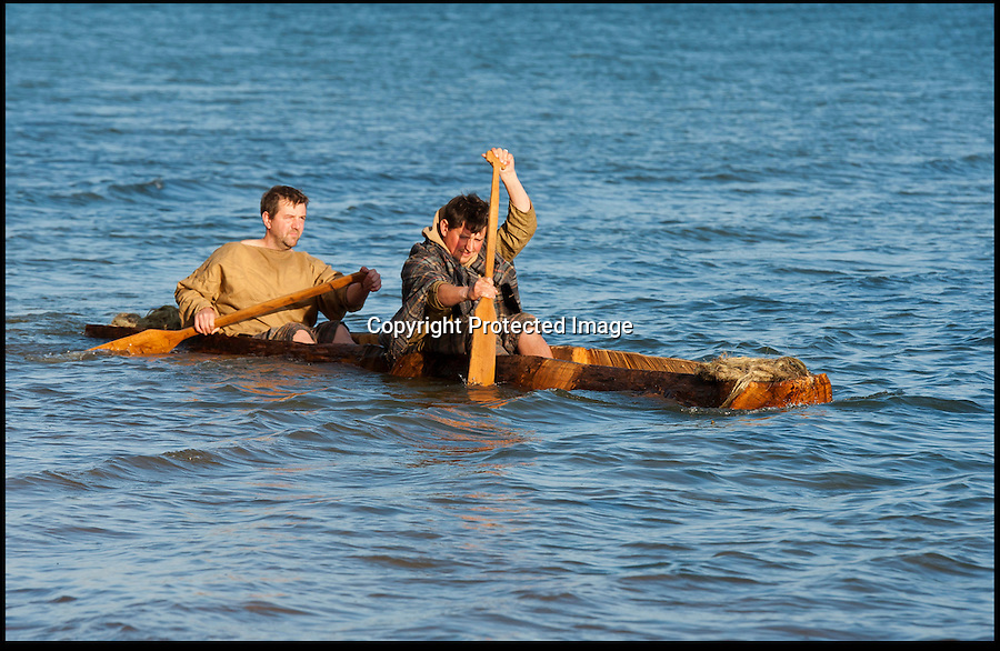 BNPS.co.uk (01202 558833).Pic: PeterWillows/BNPS..A sight unseen in Poole harbour in Dorset for 2000 years - The National Trust has constructed a Celtic log boat in tribute to the one discovered in the harbour in 1964 and now preserved in the Poole museum...