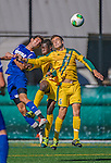 18 September 2013: University of Vermont Catamount Midfielder Charlie DeFeo, a Sophomore from Newfields, NH, goes up with Bernard Yeboah and Hoftra's Defenseman Tyler Botte, a Senior from North Babylon, NY, during game action against the Hofstra University Pride at Virtue Field in Burlington, Vermont. The Catamounts defeated the visiting Pride 2-1. Mandatory Credit: Ed Wolfstein Photo *** RAW (NEF) Image File Available ***