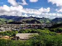 A view into the eastern island suburbs on the Hawaiian Island of Oahu.