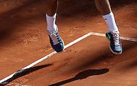 Lo svizzero Roger Federer in azione durante la finale maschile degli Internazionali d'Italia di tennis a Roma, 19 Maggio 2013..Switzerland's Roger Federer in action during the final match of the Italian Open Tennis men's tournament ATP Master 1000 in Rome, 19 May 2013..UPDATE IMAGES PRESS/Riccardo De Luca