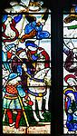 Sixteenth century stained glass window detail Fairford, Gloucestershire, England, UK hidden portrait Sir John Savile d 1505