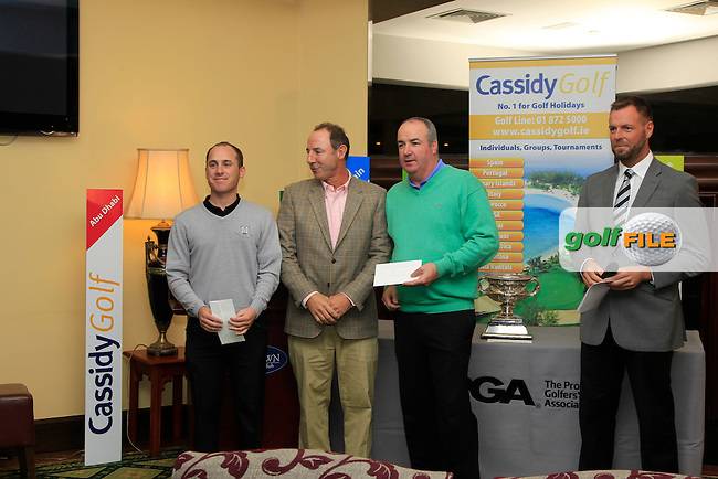 John Cassidy (Cassidy Travel) Sponsor with Cian McNamara &amp; Damien Mooney the Runner Up's during the award presentation of The Cassidy Golf 103rd Irish PGA Championship in Roganstown Golf Club on Sunday 13th October 2013.<br /> Picture:  Thos Caffrey / www.golffile.ie