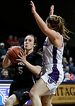 SIOUX FALLS, SD: MARCH 19:  Carolyn Appleby #5 of Indiana (PA) drives on Kelsey Shaw #4 of Stonehill during their game at the 2018 Division II Women's Elite 8 Basketball Championship at the Sanford Pentagon in Sioux Falls, S.D. (Photo by Dick Carlson/Inertia)