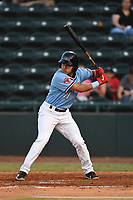 Hickory Crawdads shortstop Frainyer Chavez (11) bats during the game with the Augusta GreenJackets at L.P. Frans Stadium on April 24, 2019 in Hickory, North Carolina.  The Crawdads defeated the GreenJackets 5-4. (Tracy Proffitt/Four Seam Images)