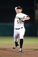 Scottsdale Scorpions pitcher Tyler Waldron (56), of the Pittsburgh Pirates organization, during an Arizona Fall League game against the Salt River Rafters on October 9, 2013 at Scottsdale Stadium in Scottsdale, Arizona.  Salt River defeated Scottsdale 12-2.  (Mike Janes/Four Seam Images)