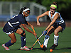 Kelsi King #5 of Baldwin, left, and Mackenzie Conkling #1 of Massapequa battle for a loose ball during the first half of a Nassau County Conference I varsity field hockey match at Field of Dreams Park in Massapequa on Monday, Sept. 26, 2016. Conkling recorded one goal in Massapequa's 5-0 win.
