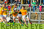 Bernard Walsh and Padraig O'Sullivan South Kerry in Action against Billy McGuire Legion in the Kerry County Senior Football Final at Fitzgerald Stadium on Sunday.