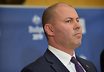 Josh Frydenberg, Australia's treasurer, speaks at a news conference inside the budget lock-up at Parliament House in Canberra, Australia, on Tuesday, April 2, 2019. Photographer: Mark Graham/Bloomberg