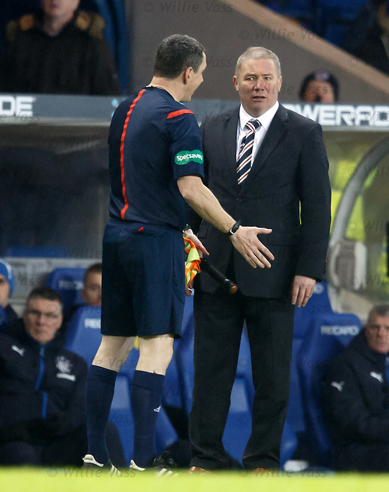 Ally McCoist with linesman Stephen Mitchell