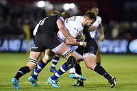 Elliott Stooke of Bath Rugby takes on the Newcastle Falcons defence. Aviva Premiership match, between Newcastle Falcons and Bath Rugby on February 16, 2018 at Kingston Park in Newcastle upon Tyne, England. Photo by: Patrick Khachfe / Onside Images