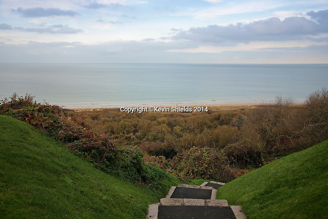 Path between the American Cemetery and Omaha Beach, site of Allied landing on June 6, 1944, Normandy, France.