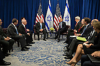 """Prime Minister of Israel Benjamin Netanyahu and United States President Barack Obama meet during a bilateral meeting at the Lotte New York Palace Hotel, September 21, 2016 in New York City. Last week, Israel and the United States agreed to a $38 billion, 10-year aid package for Israel. Obama is expected to discuss the need for a """"two-state solution"""" for the Israeli-Palestinian conflict. Photo Credit: Drew Angerer/CNP/AdMedia"""