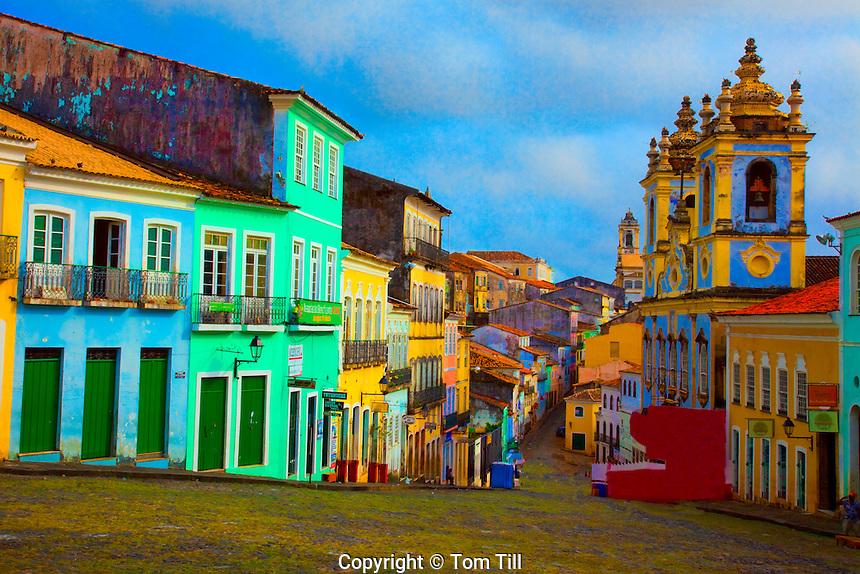 Old town Salvador, Brazil   Historic city of Atlantic Coast   Bahia Region  Old capitol of Brazil