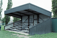 Covered area at Civil Service FC Football Ground, Civil Service Sports Ground, Chiswick, London, pictured on 27th May 1991