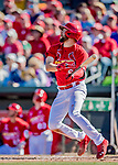 29 February 2020: St. Louis Cardinals top prospect outfielder Dylan Carlson connects for a double to lead off the bottom of the 7th inning during a Spring Training game against the Washington Nationals at Roger Dean Stadium in Jupiter, Florida. The Cardinals defeated the Nationals 6-3 in Grapefruit League play. Mandatory Credit: Ed Wolfstein Photo *** RAW (NEF) Image File Available ***