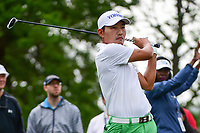 Sung Kang (USA) watches his tee shot on 4 during round 4 of the Shell Houston Open, Golf Club of Houston, Houston, Texas, USA. 4/2/2017.<br /> Picture: Golffile | Ken Murray<br /> <br /> <br /> All photo usage must carry mandatory copyright credit (&copy; Golffile | Ken Murray)
