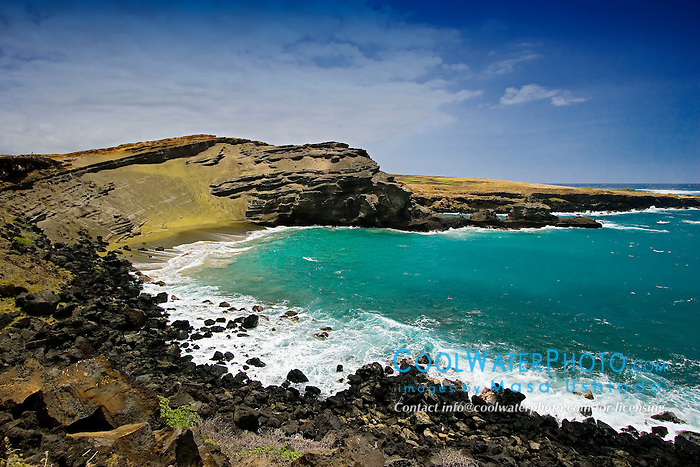 Green Sand Beach, Mahana Bay, South Point, Big Island, Hawaii, Pacific Ocean