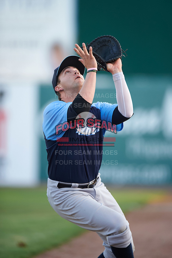 Trenton Thunder first baseman Dante Bichette (19) catches a ball in foul territory during the second game of a doubleheader against the Hartford Yard Goats on June 1, 2016 at Sen. Thomas J. Dodd Memorial Stadium in Norwich, Connecticut.  Trenton defeated Hartford 2-1.  (Mike Janes/Four Seam Images)