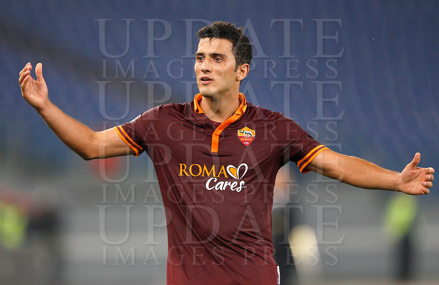 Calcio, Serie A: Roma vs ChievoVerona. Roma, stadio Olimpico, 31 ottobre 2013.<br /> AS Roma midfielder Marquinho, of Brazil, gestures during the Italian Serie A football match between AS Roma and ChievoVerona at Rome's Olympic stadium, 31 October 2013.<br /> UPDATE IMAGES PRESS/Riccardo De Luca