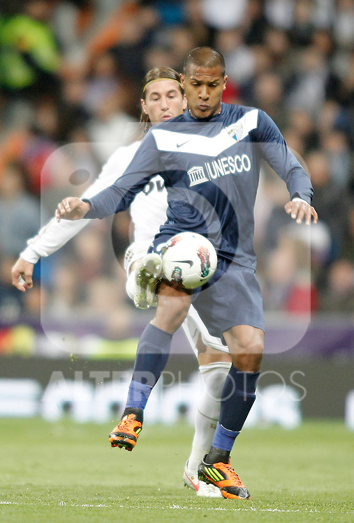 Real Madrid's Sergio Ramos against Malaga's Jose Salomon Rondon during La Liga Match. March 18, 2012. (ALTERPHOTOS/Alvaro Hernandez)