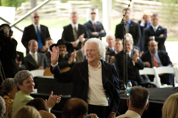 Thursday, May 31, Charlotte, North Carolina. Dedication ceremony for the new Billy Graham Library in Charlotte, North Carolina.. Former first lady, Barbara Bush.