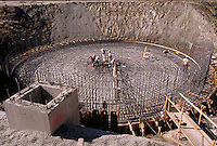 Reinforcing cylindrical steel structure for concrete construction. California.