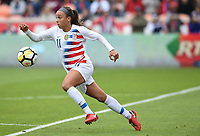Houston, TX - Sunday April 8, 2018: Mallory Pugh during an International friendly match versus the women's National teams of the United States (USA) and Mexico (MEX) at BBVA Compass Stadium.