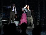 Ben Fankhauser, Kara Lindsay & Jeremy Jordan.during the 'NEWSIES' Opening Night Curtain Call at the Nederlander Theatre in New York on 3/29/2012