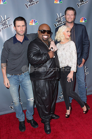 "UNIVERSAL CITY, CA - NOVEMBER 07: Coaches Cee Lo Green Christina Aguilera Adam Levine and Blake Shelton at NBC's ""The Voice"" Season 5 Top 12 in Universal City Plaza, on November 7th, 2013 in Universal City, California Photo Credt: RTNRossi / MediaPunch Inc."