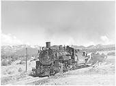 K-36 #486 pulling work train.<br /> D&amp;RGW  near Bocea, CO  Taken by Richardson, Robert W. - 7/17/1953