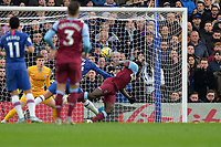 Michail Antonio header is saved by Kepa Arrizabalaga Of Chelsea FC during Chelsea vs West Ham United, Premier League Football at Stamford Bridge on 30th November 2019