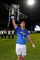 Quinn Roux of Leinster  holds the trophy after winning the Amlin Challenge Cup Final between Leinster Rugby and Stade Francais at the RDS Arena, Dublin on Friday 17th May 2013 (Photo by Rob Munro).