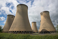 Cooling towers at the gas powered Keadby power station, Scunthorpe, North Lincolnshire.