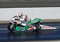 Nov. 10, 2012; Pomona, CA, USA: NHRA pro stock motorcycle rider Kieth Burley during qualifying for the Auto Club Finals at at Auto Club Raceway at Pomona. Mandatory Credit: Mark J. Rebilas-