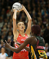 03.09.2017 England's Helen Housby in action during the Quad Series netball match between England and South Africa at the ILT Stadium Southland in Invercargill. Mandatory Photo Credit ©Michael Bradley.