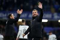 Derby County Assistant Manager, Jody Morris, waves at the Chelsea fans at the end of the match as Derby Manager, Frank Lampard, applauds the supporters in the background during Chelsea vs Derby County, Caraboa Cup Football at Stamford Bridge on 31st October 2018