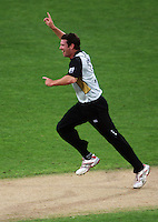 NZ's Ian Butler celebrates taking a wicket during 2nd Twenty20 cricket match match between New Zealand Black Caps and West Indies at Westpac Stadium, Wellington, New Zealand on Friday, 27 February 2009. Photo: Dave Lintott / lintottphoto.co.nz
