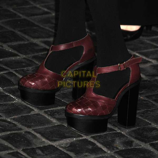 Emma Roberts' shoes.Topshop Topman LA Opening Party held at Cecconi's, West Hollywood, California, USA..February 13th, 2013.detail feet heels weave black dress tights maroon shoes platform.CAP/ADM/BP.©Byron Purvis/AdMedia/Capital Pictures.