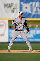 Vermont Lake Monsters second baseman J.C. Rodriguez (7) during a game against the Tri-City ValleyCats on June 16, 2018 at Joseph L. Bruno Stadium in Troy, New York.  Vermont defeated Tri-City 6-2.  (Mike Janes/Four Seam Images)