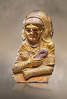 Ancient Egyptian Roman female mummy mask, limestone, Roman Period, 2nd Cent AD, Hawara,  Egyptian Museum, Turin. <br /> <br /> This is a remarkable gilt cartonnage with inlaid cystal eyes . The woman wears a Roman style hardo half covered by a veil, a himation, fringed cloak, yied to her breat, snake shaped bracelets and a necklace of pink flowers, all of which are connected to the cult of Isis.