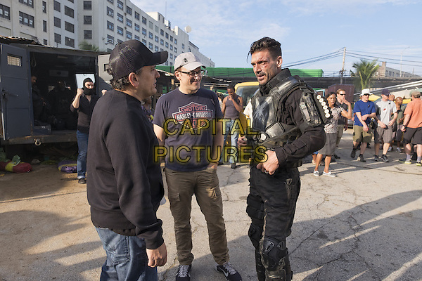 Captain America: Civil War (2016) <br /> Behind the scenes photo of Frank Grillo, Anthony Russo &amp; Joe Russo<br /> *Filmstill - Editorial Use Only*<br /> CAP/KFS<br /> Image supplied by Capital Pictures
