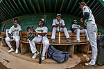21 July 2019: Vermont Lake Monsters infielder Yerdel Vargas (2) sits in the dugout with teammates prior to a game against the Tri-City ValleyCats at Centennial Field in Burlington, Vermont. The Lake Monsters rallied to defeat the ValleyCats 6-3 in NY Penn League play. Mandatory Credit: Ed Wolfstein Photo *** RAW (NEF) Image File Available ***