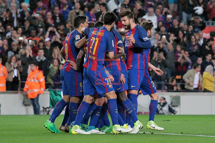 League Santander 2016/2017. Game: 32.<br /> FC Barcelona vs Real Sociedad: 3-2.<br /> Luis Suarez, Andre Gomes, Paco Alcacer &amp; Gerard Pique.