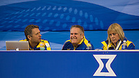Glasgow. SCOTLAND.  The Swedish Coaching Bench, find something to smile about during the &quot;Round Robin&quot; Games. Le Gruy&egrave;re European Curling Championships. 2016 Venue, Braehead  Scotland<br /> Monday  21/11/2016<br /> <br /> [Mandatory Credit; Peter Spurrier/Intersport-images]