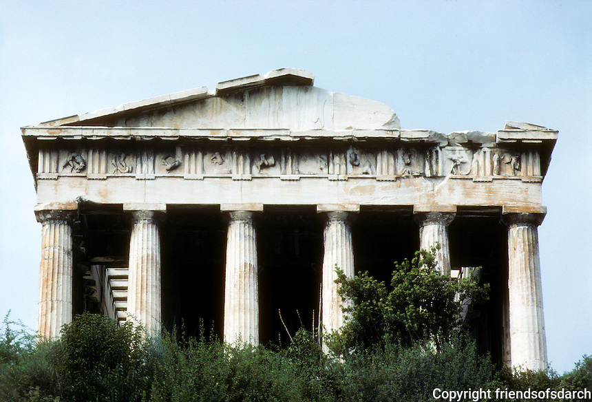 Athens: The Temple of Hephaestus, 5th Century B.C. by Ictinos, architect of The Parthenon. Photo from below.  '82.